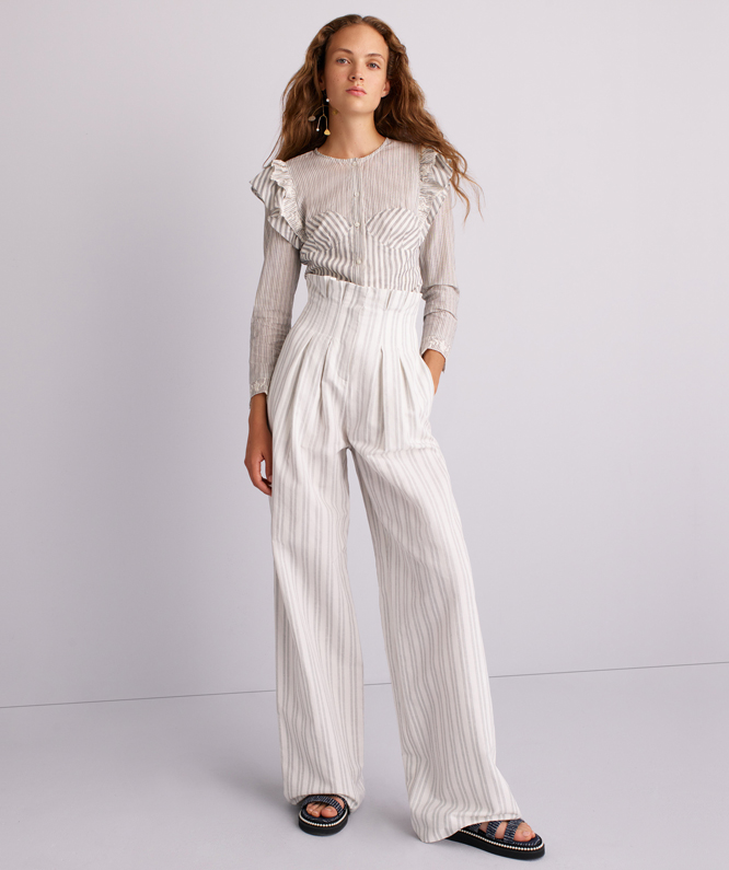 COTTON EYELET TOP + STRIPED WIDE LEG PANT