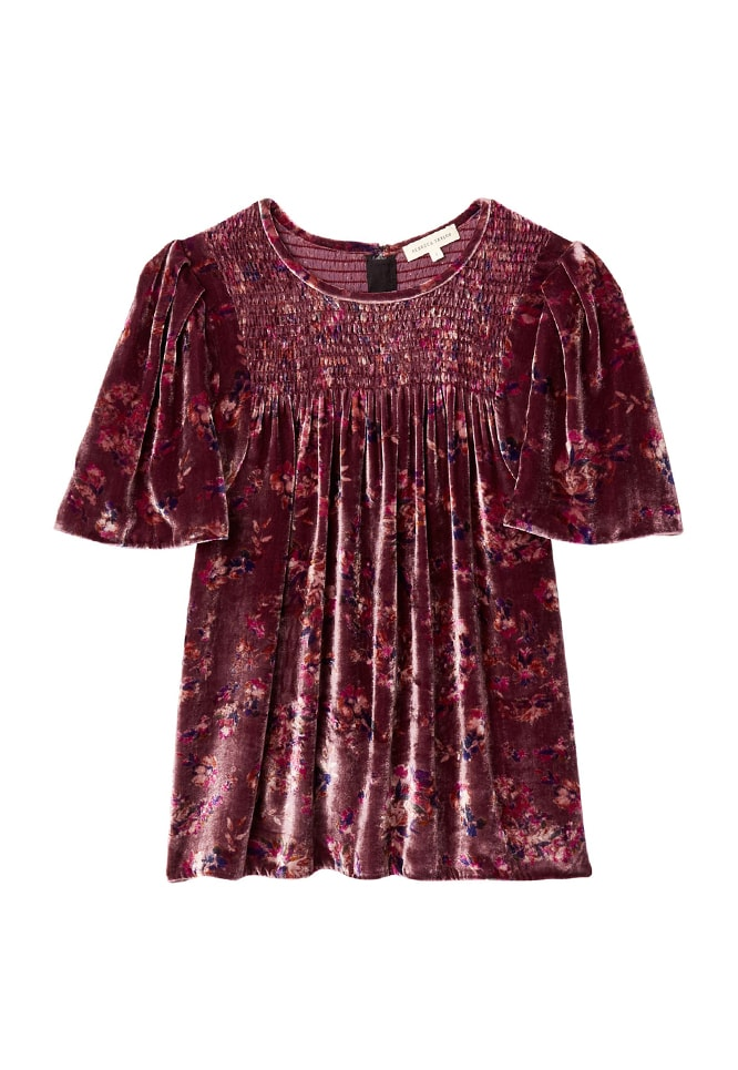 Jewel Paisley Smocked Velvet Top