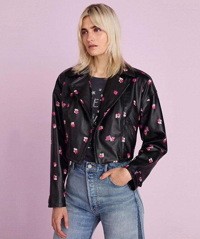 FLORIANA FLEUR LEATHER JACKET , GLITTER PRINT TEE & WIDE LEG JEAN