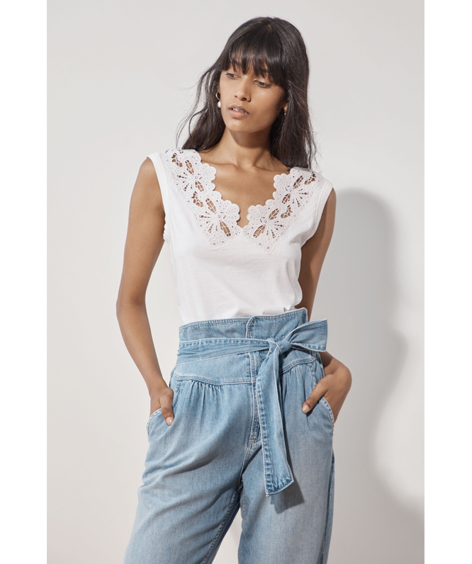 La Vie Embroidered Clean Jersey Top