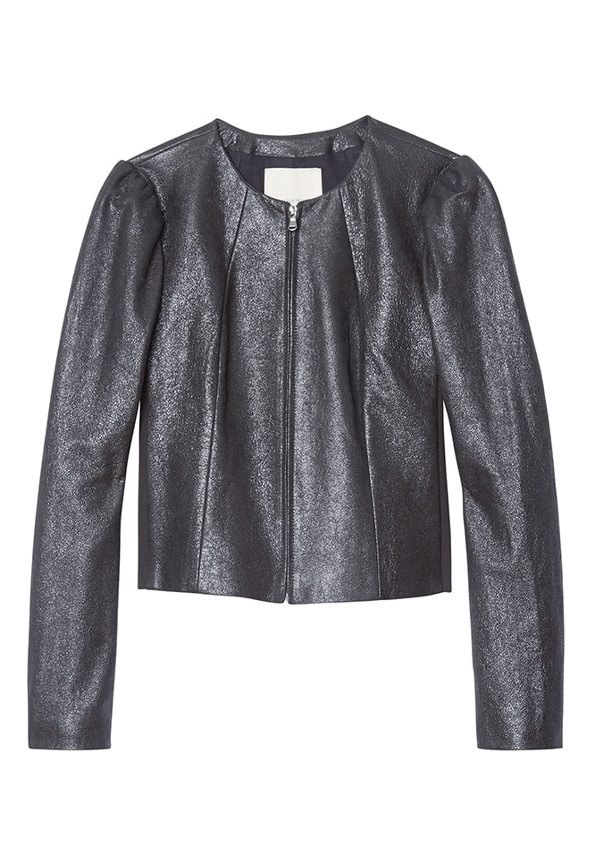CRACKLE METALLIC LEATHER JACKET