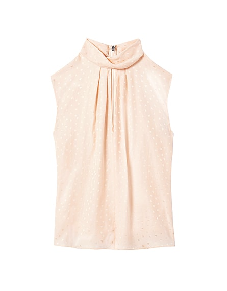 Heart Jacquard Silk Mock Neck Top