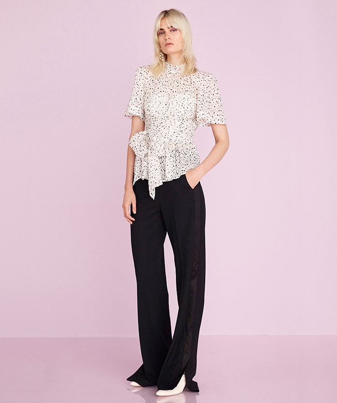 SCATTERED STAR PRINT WRAP TOP & TUXEDO WOOL TROUSER
