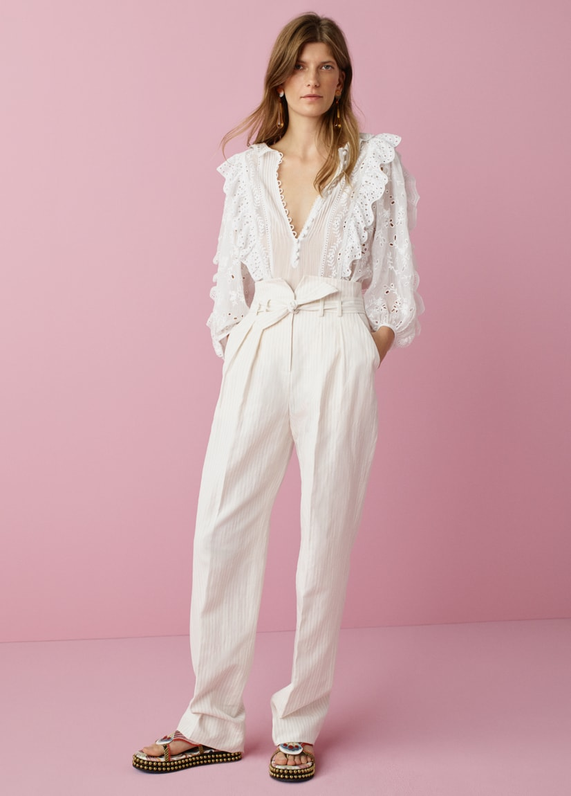 Pinstripe Linen Belted Pant