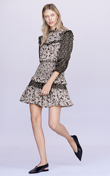 LONG SLEEVE BIJOU PATCH DRESS