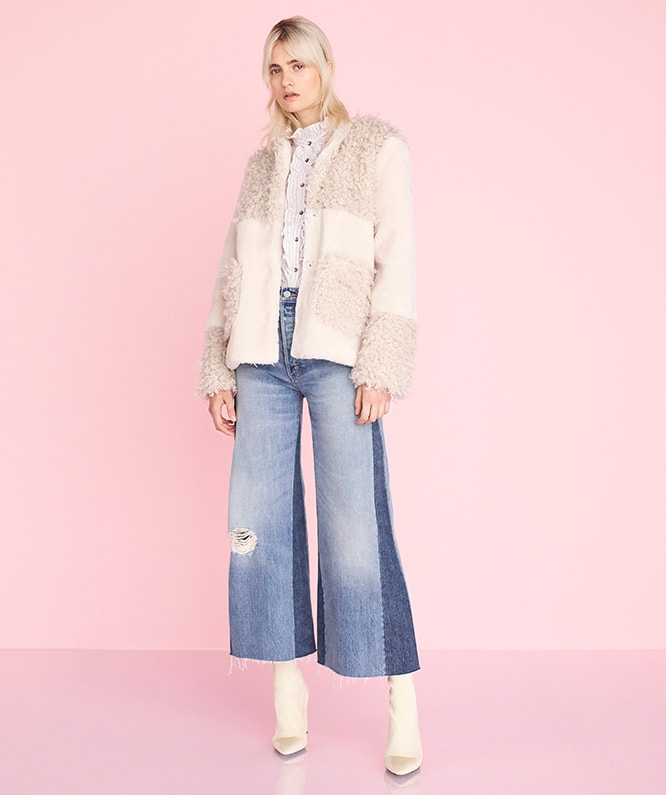 MIXED FAUX FUR COAT , GIGI STRIPE RUFFLE SHIRT & WIDE LEG JEAN