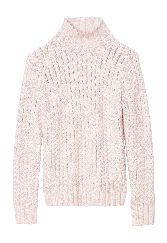 LA VIE MARLED CABLE TURTLENECK PULLOVER