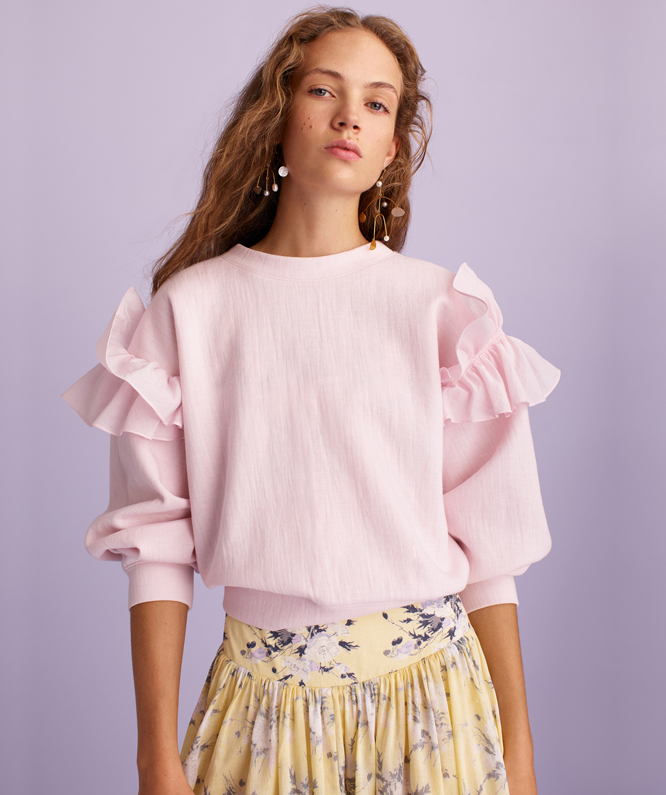 RUFFLED ORGANDY SWEATSHIRT + LEMON ROSE DRESS