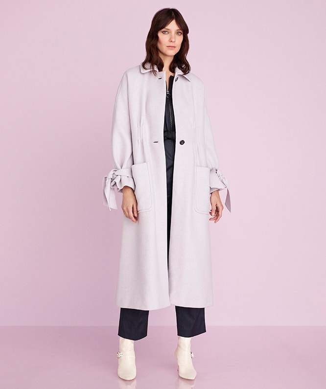 MELTON COAT & BROKEN SATEEN JUMPSUIT